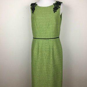 Evan Picone Black Label Dress Womens Sheath Green